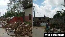 Los basureros en medio de la vía pública, como este en Nueva Gerona, Isla de la Juventud, abundan en Cuba. (Captura de video/William Rodríguez)