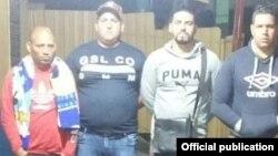 Los cuatro hombres que viajaban en el grupo de nueve cubanos que fueron detenidos en Honduras el miércoles 12 de diciembre de 2018.