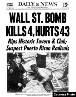 Noticia del atentado en la histórica Fraunces Tavern, perpetrado por las FALN puertorriqueñas en 1975.