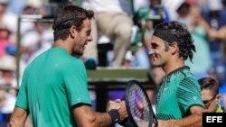 Del Potro (i) estrecha la mano de Federer.