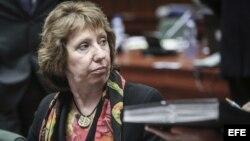 La jefa de la diplomacia de la UE, Catherine Ashton, asiste al Consejo de Ministros de Exteriores de la Unión Europea (UE) en Bruselas (Bélgica).