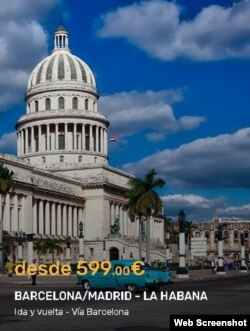 La compañía PlusUltra vuela Barcelona/Madrid/La Habana.