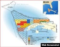 Mapa de la Zona Económica Exclusiva de Cuba en el Golfo de México.
