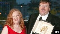 Michael Moore y su ex esposa Kathleen Glynn