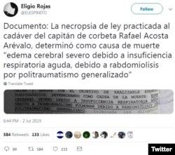 Según este documento publicado en su cuenta de Twitter por el periodista Eligio Rojas, la autopsia certifica que Rafael Acosta Arévalo fue torturado.