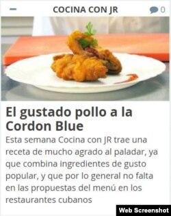 """Publicación de Juventud Rebelde en la sección """"Cocina con JR""""."""