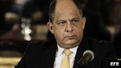 Luis Guillermo Solís, presidente de Costa Rica, en conferencia de prensa en San José. EFE