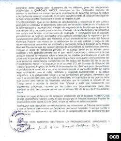 Sentencia dictada por el Tribunal Provincial de Guantánamo contra Quiñones Haces.