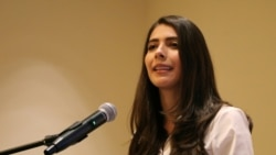 Berenice Quezada hace un discurso durante la presentación de su candidatura a vicepresidenta de Nicaragua. REUTERS/Maynor Valenzuela