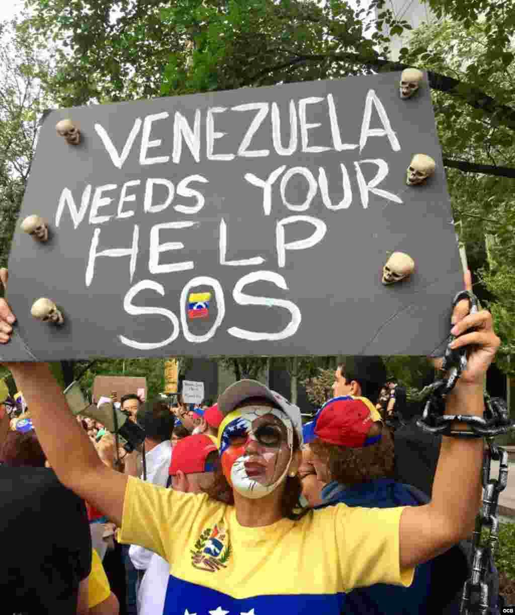 Manifestación ante la sede de Naciones Unidas.