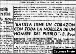 Blas Roca afirma que Batista tiene el corazón de hombre de pueblo.