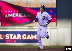 El jugador de la Liga Americana Miguel Cabrera en acción durante el Juego de las Estrellas de la MLB.