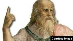 Platón en La escuela de Atenas, señala al cielo en alusión al Mundo de las ideas.