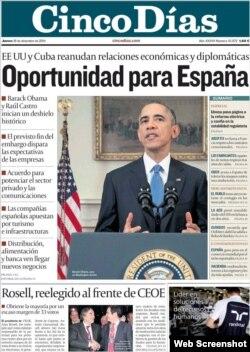 Portada del diario Cinco Días tras el anuncio de la nueva era diplomática entre Estados Unidos y Cuba.