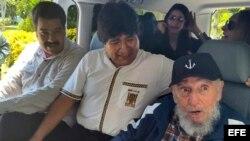 Castro y Maduro sorprenden a Morales en hotel de La Habana, este jueves 13 de agosto.