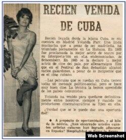 Yolanda Farr regresó a España tras rodar en La Habana Memorias del Subdesarrollo.