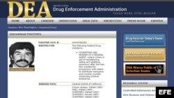 Imagen cedida por la Agencia Antidrogas Estadounidense de una lista de fugitivos internacionales elaborada por este organismo de seguridad. Foto de archivo