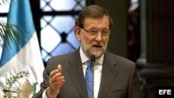 El presidente del Gobierno español, Mariano Rajoy, durante la conferencia de prensa en Guatemala.