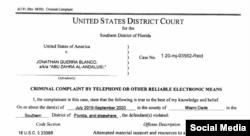 Documentos de la corte contra Jonathan Guerra.