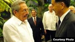 Raúl Castro recibe al viceprimer ministro de China, Wang Yang.