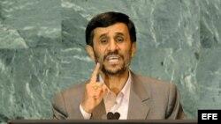 El presidente de Irán, Mahmoud Ahmadinejad, en Naciones Unidas, en una intervención donde se refirió a las sanciones de Occidente.
