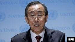 El secretario general de la ONU, Ban Ki-moon en conferencia de prensa en las oficinas principales de las Naciones Unidas, Nueva York.