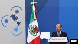 El presidente mexicano, Felipe Calderón, habla durante la Conferencia Internacional para el establecimiento del Esquema Hemisférico de Cooperación contra la Delincuencia Organizada Transnacional