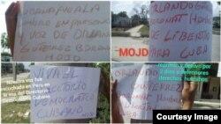 Carteles del Movimiento Opositor Juventud Despierta (MOJD) en Santa Clara.