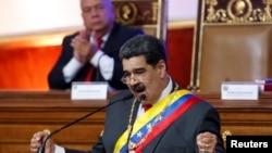 El gobernante venezolano, Nicolás Maduro, durante su discurso anual a la nación ante la Asamblea Nacional Constituyente, en Caracas, el 14 de enero del 2020.
