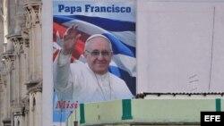 Imagen del papa Francisco en La Habana, donde el 20 de septiembre oficiará una misa durante su visita a Cuba.