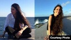 La fotografía de la izquierda corresponde a Yoani Sánchez en el malecón de Miami y la derecha en el malecón de La Habana