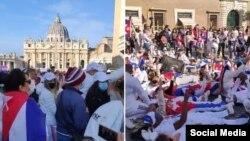 Cubanos se manifiestan frente al Vaticano, en Roma. (Captura de videos/Facebook)