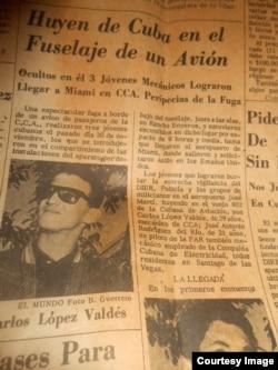Recorte de artículo del periódico El Mundo (Miami) que recoge la entrada de López y sus dos amigos como polizones en vuelo La Habana-Miami. Cortesía María López.
