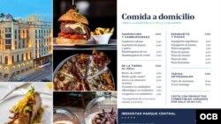 Menú para ventas de comida a domicilio del hotel habanero Iberostar Parque Central.