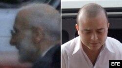 Alan Gross entrando al tribunal (izq.), y Angel Carromero en Bayamo, el día que fue juzgado.
