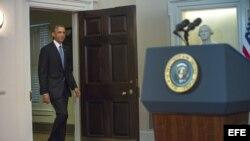 El presidente de Estados Unidos Barack Obama se dirige a la nación desde la Casa Blanca (17 de diciembre, 2014).