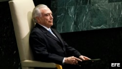El presidente brasileño, Michel Temer, antes de pronunciar su discurso durante el debate del 71 periodo de sesiones de la Asamblea General de Naciones Unidas, en la sede del a ONU en Nueva York, Estados Unidos, hoy, 20 de septiembre de 2016.
