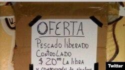 Precio del pescado liberado-controlado en La Habana. Foto de @osmany_freeman
