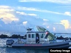 La escena del accidente en el que falleció José Fernández. (Foto: Departamento de Bomberos Miami-Dade)