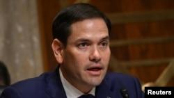 El senador Marco Rubio cuestiona al secretario de Estado Mike Pompeo en una audiencia en el Senado.