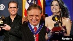 Combinación de fotografías de la agencia Reuters de los artistas Willy Chirino, Arturo Sandoval y Lena Burke.