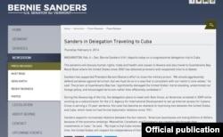 Comunicado de la Oficina del senador Bernie Sanders sobre la visita a Cuba en 2014.