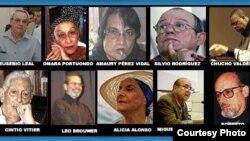 """Algunos de los intelectuales firmantes del """"Mensaje desde La Habana para amigos que están lejos"""", 2003."""