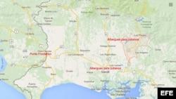 Mapa de la zona fronteriza entre Panamá y Costa Rica.