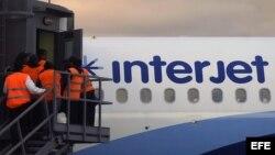 Un avión de la empresa mexicana Interjet.