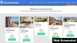 """Anuncio de casas particulares """"turísticas"""" en Cuba, en la web de Barceló Viajes."""