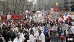Marcha en favor de legalización de indocumentados en Estados Unidos.