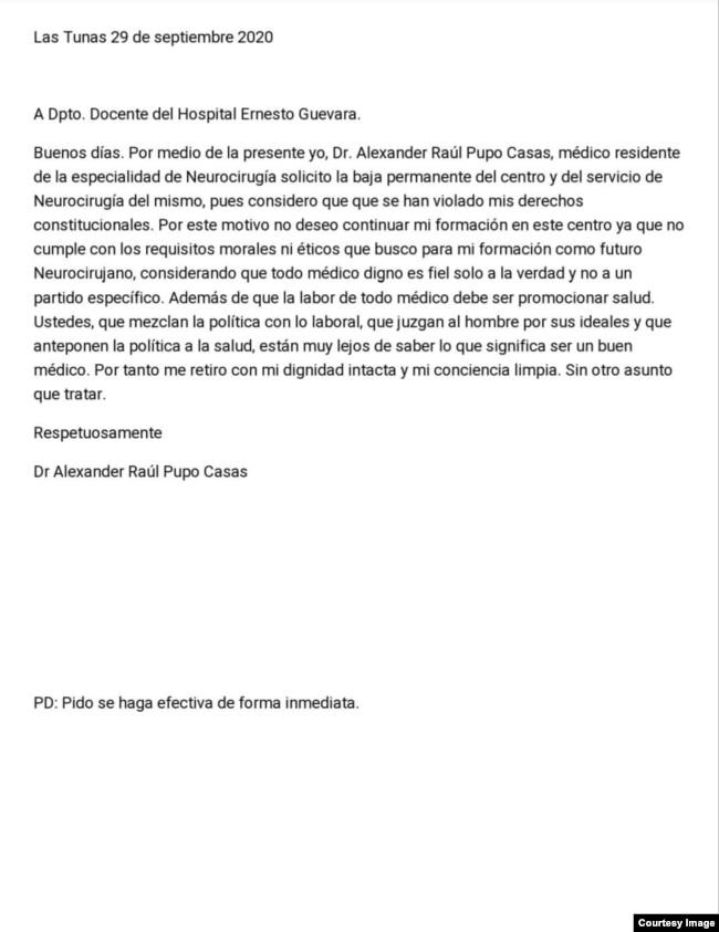 Texto de la carta de renuncia del Dr. Pupo Casas.