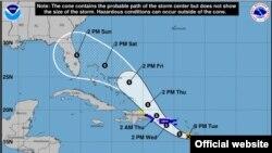 Mapa de la trayectoria pronosticada para Dorian, según el parte de las 8:00 pm de este martes. (NHC)