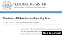 """Publicación en el """"Registro Federal"""" de EEUU de la salida de Cuba de la lista de patrocinadores del terrorismo."""